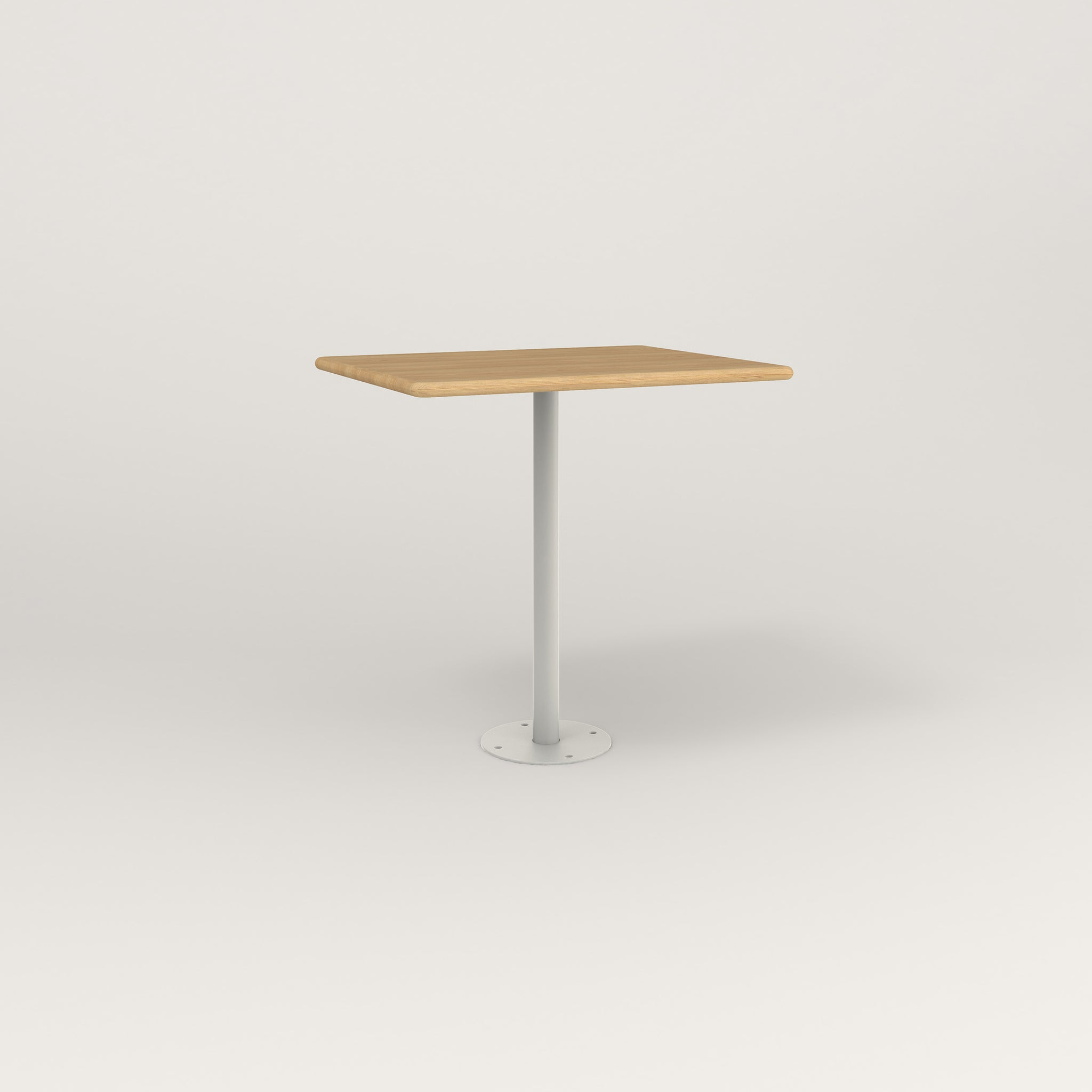 RAD Cafe Table, Rectangular Bolt Down Base in solid white oak and white powder coat.