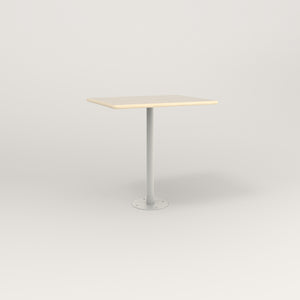 RAD Cafe Table, Rectangular Bolt Down Base in solid ash and white powder coat.