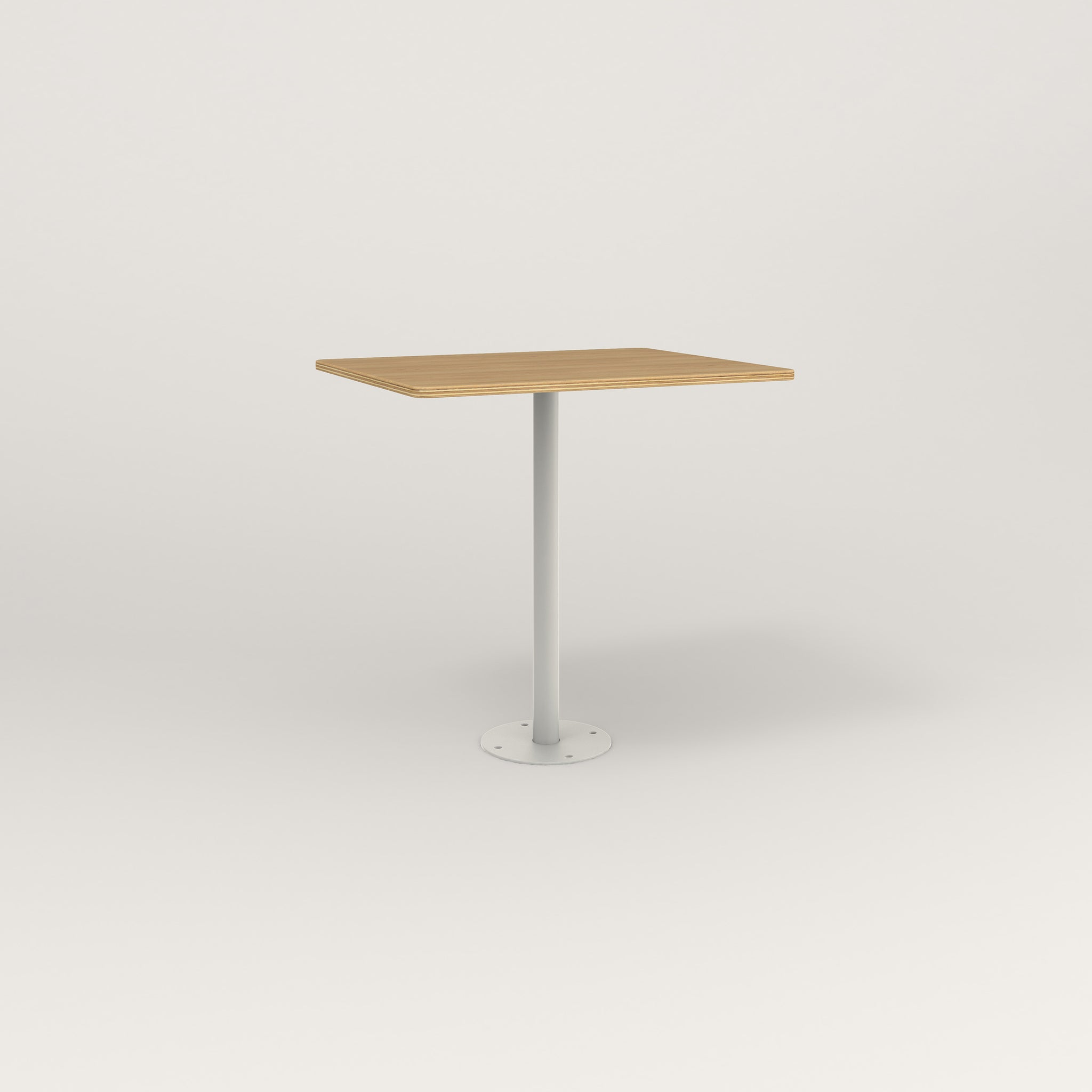 RAD Cafe Table, Rectangular Bolt Down Base in white oak europly and white powder coat.