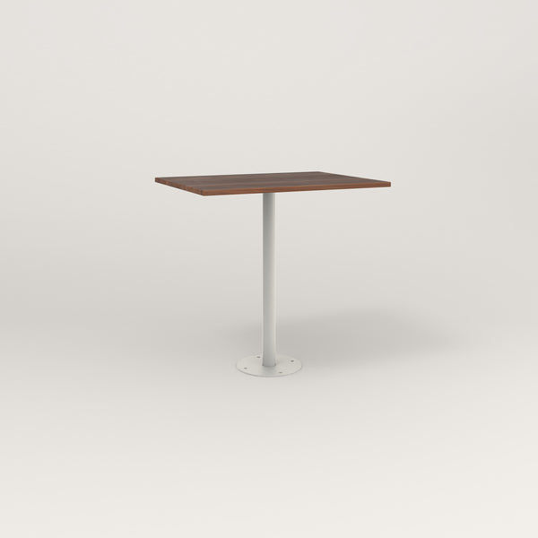 RAD Cafe Table, Rectangular Bolt Down Base in slatted wood and white powder coat.