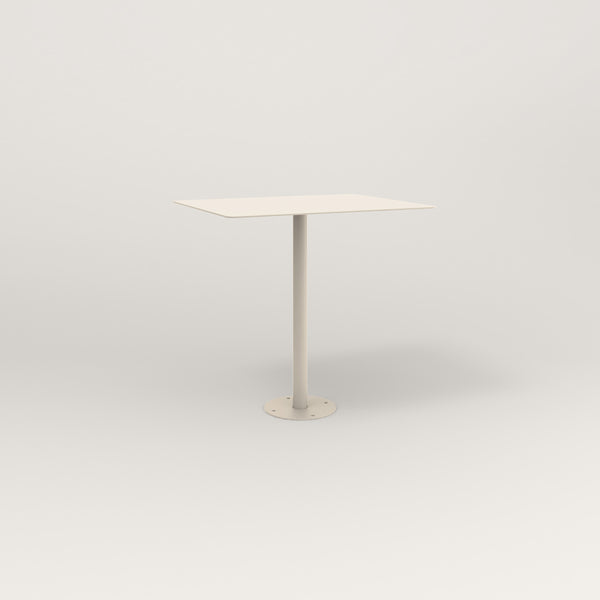 RAD Cafe Table, Rectangular Bolt Down Base in aluminum and off-white powder coat.