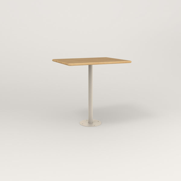 RAD Cafe Table, Rectangular Bolt Down Base in solid white oak and off-white powder coat.