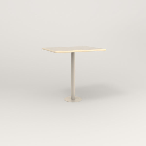 RAD Cafe Table, Rectangular Bolt Down Base in solid ash and off-white powder coat.