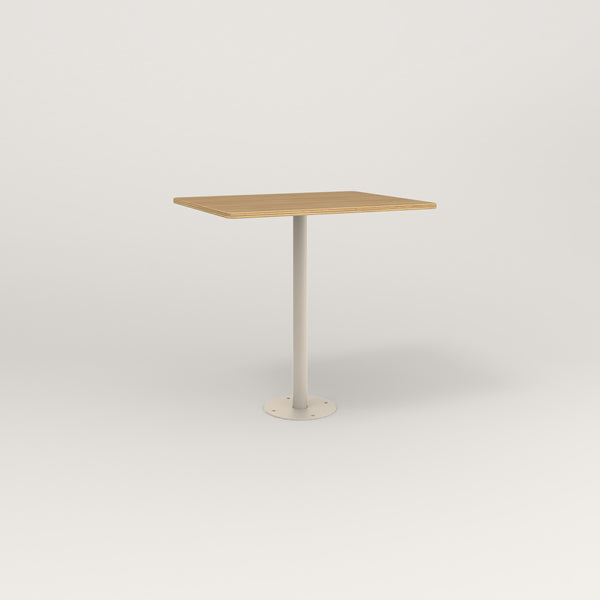 RAD Cafe Table, Rectangular Bolt Down Base in white oak europly and off-white powder coat.