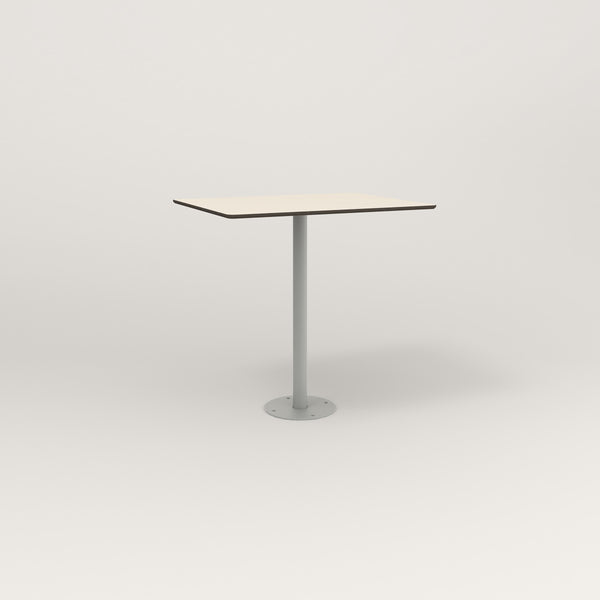 RAD Cafe Table, Rectangular Bolt Down Base in hpl and grey powder coat.