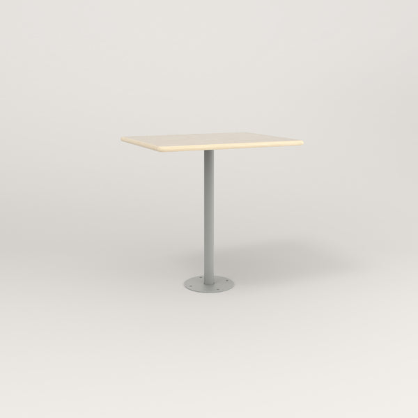 RAD Cafe Table, Rectangular Bolt Down Base in solid ash and grey powder coat.
