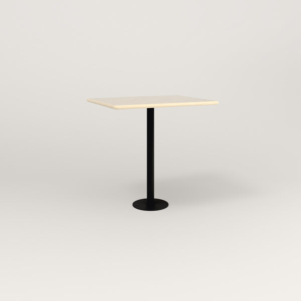 RAD Cafe Table, Rectangular Bolt Down Base in solid ash and black powder coat.