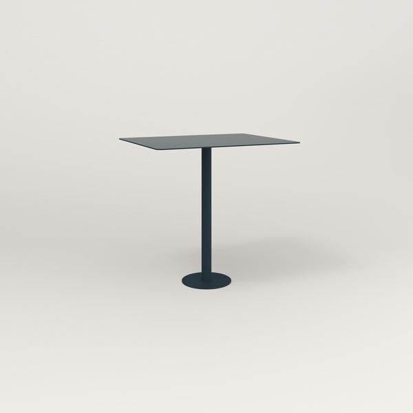 RAD Cafe Table, Rectangular Bolt Down Base in aluminum and navy powder coat.