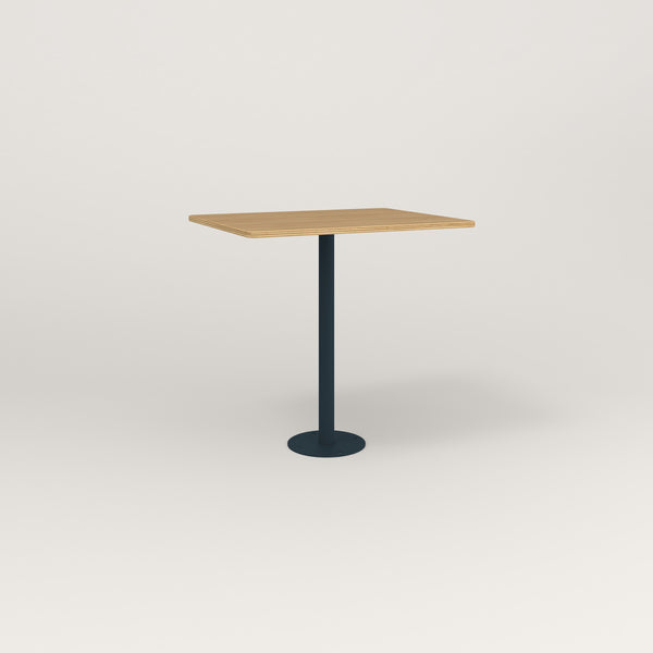RAD Cafe Table, Rectangular Bolt Down Base in white oak europly and navy powder coat.