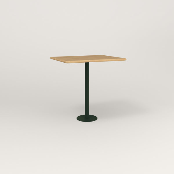 RAD Cafe Table, Rectangular Bolt Down Base in solid white oak and fir green powder coat.