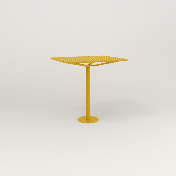 RAD Cafe Table, Rectangular Bolt Down Base in perforated steel and yellow powder coat.