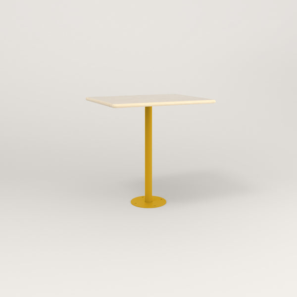 RAD Cafe Table, Rectangular Bolt Down Base in solid ash and yellow powder coat.