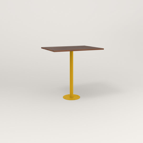 RAD Cafe Table, Rectangular Bolt Down Base in slatted wood and yellow powder coat.