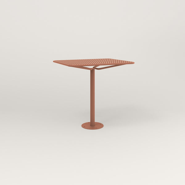 RAD Cafe Table, Rectangular Bolt Down Base in perforated steel and coral powder coat.