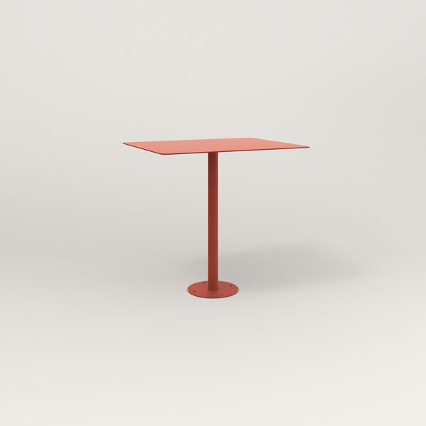 RAD Cafe Table, Rectangular Bolt Down Base in aluminum and red powder coat.