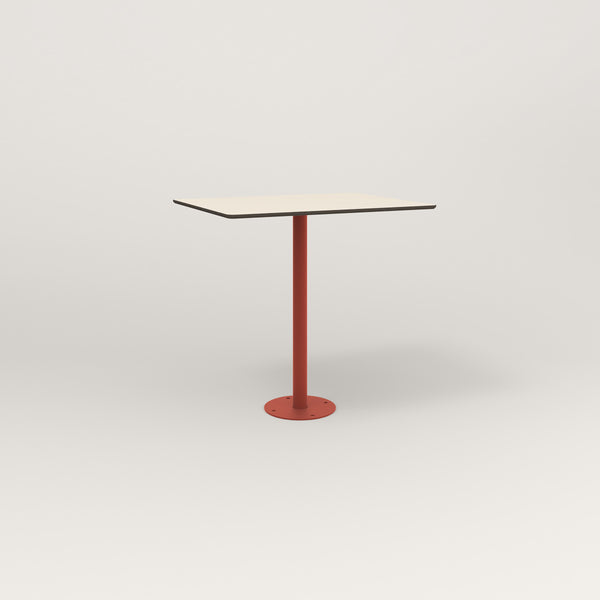 RAD Cafe Table, Rectangular Bolt Down Base in hpl and red powder coat.