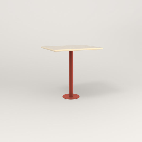 RAD Cafe Table, Rectangular Bolt Down Base in solid ash and red powder coat.