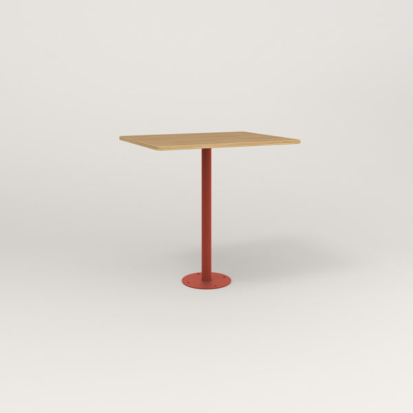 RAD Cafe Table, Rectangular Bolt Down Base in white oak europly and red powder coat.