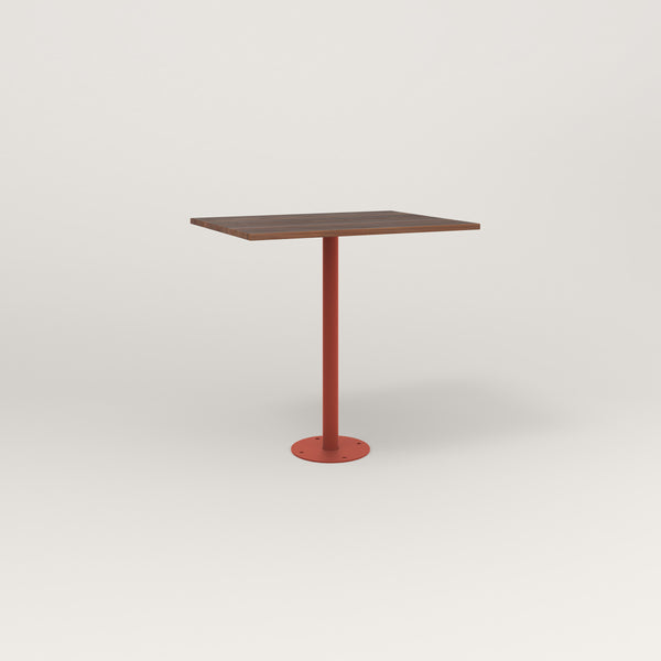RAD Cafe Table, Rectangular Bolt Down Base in slatted wood and red powder coat.