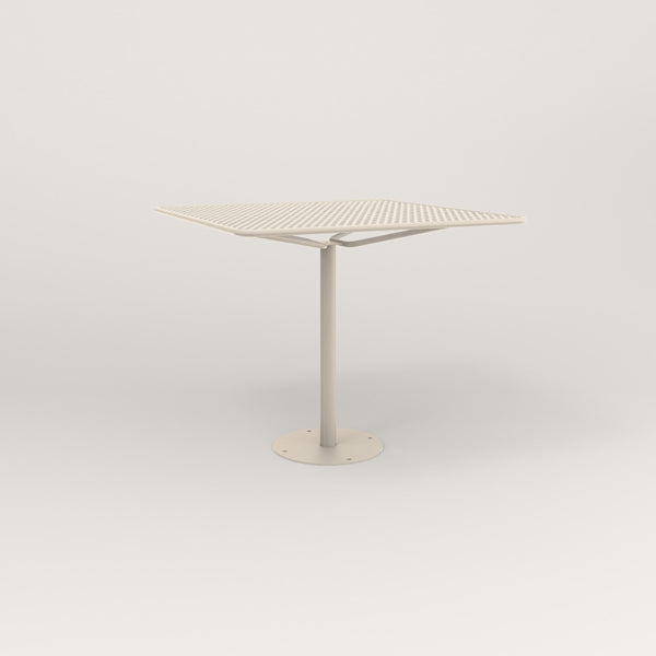RAD Cafe Table, Rectangular Bolt Down Base in perforated steel and off-white powder coat.