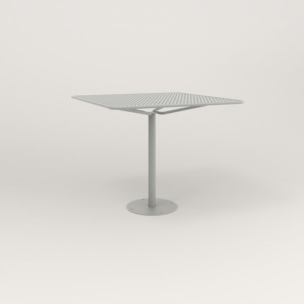 RAD Cafe Table, Rectangular Bolt Down Base in perforated steel and grey powder coat.