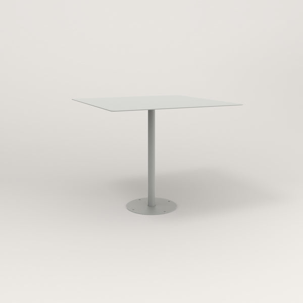 RAD Cafe Table, Rectangular Bolt Down Base in aluminum and grey powder coat.