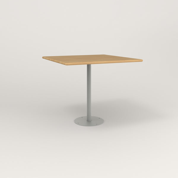 RAD Cafe Table, Rectangular Bolt Down Base in solid white oak and grey powder coat.