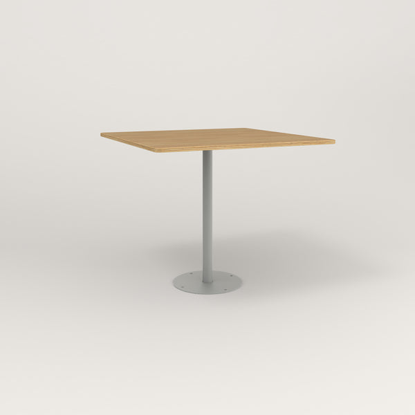RAD Cafe Table, Rectangular Bolt Down Base in white oak europly and grey powder coat.
