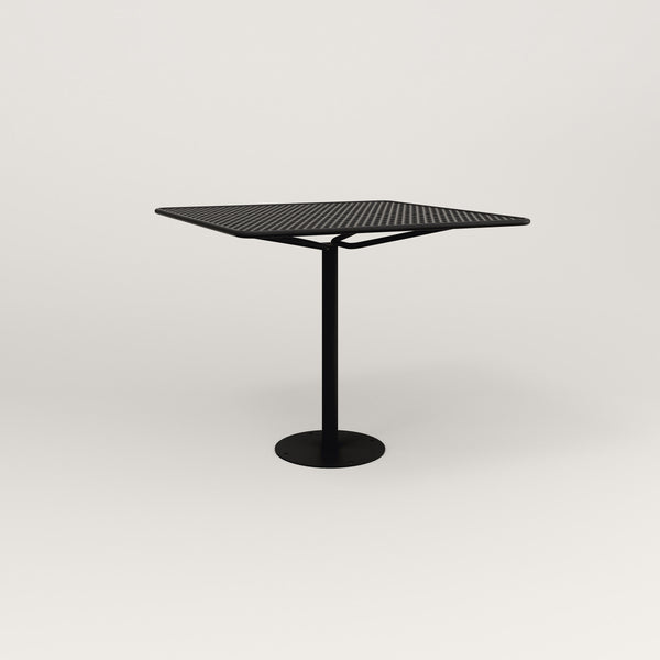RAD Cafe Table, Rectangular Bolt Down Base in perforated steel and black powder coat.