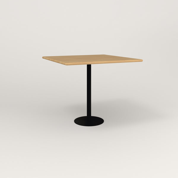 RAD Cafe Table, Rectangular Bolt Down Base in solid white oak and black powder coat.