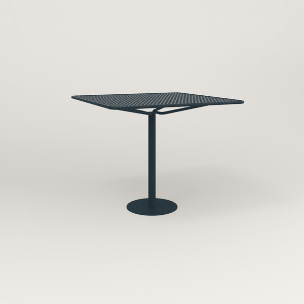 RAD Cafe Table, Rectangular Bolt Down Base in perforated steel and navy powder coat.