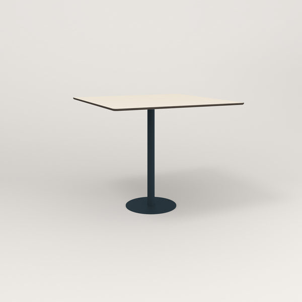 RAD Cafe Table, Rectangular Bolt Down Base in hpl and navy powder coat.