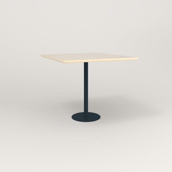 RAD Cafe Table, Rectangular Bolt Down Base in solid ash and navy powder coat.