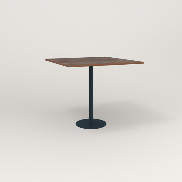 RAD Cafe Table, Rectangular Bolt Down Base in slatted wood and navy powder coat.