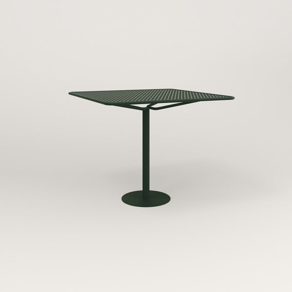 RAD Cafe Table, Rectangular Bolt Down Base in perforated steel and fir green powder coat.
