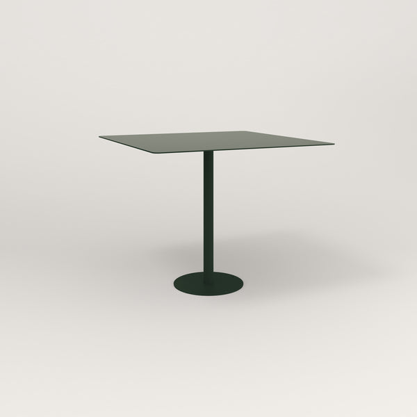 RAD Cafe Table, Rectangular Bolt Down Base in aluminum and fir green powder coat.