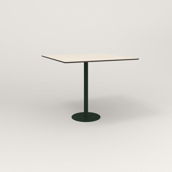 RAD Cafe Table, Rectangular Bolt Down Base in hpl and fir green powder coat.