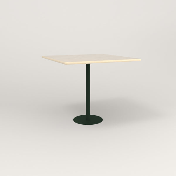 RAD Cafe Table, Rectangular Bolt Down Base in solid ash and fir green powder coat.