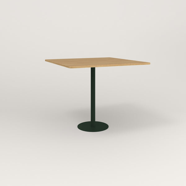 RAD Cafe Table, Rectangular Bolt Down Base in white oak europly and fir green powder coat.