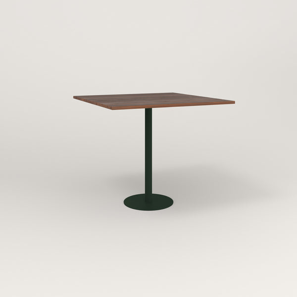 RAD Cafe Table, Rectangular Bolt Down Base in slatted wood and fir green powder coat.