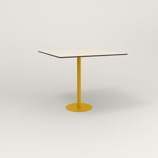 RAD Cafe Table, Rectangular Bolt Down Base in hpl and yellow powder coat.