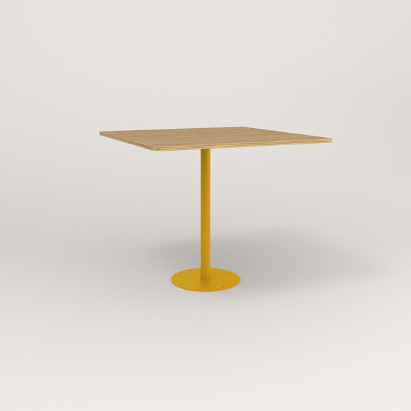 RAD Cafe Table, Rectangular Bolt Down Base in white oak europly and yellow powder coat.