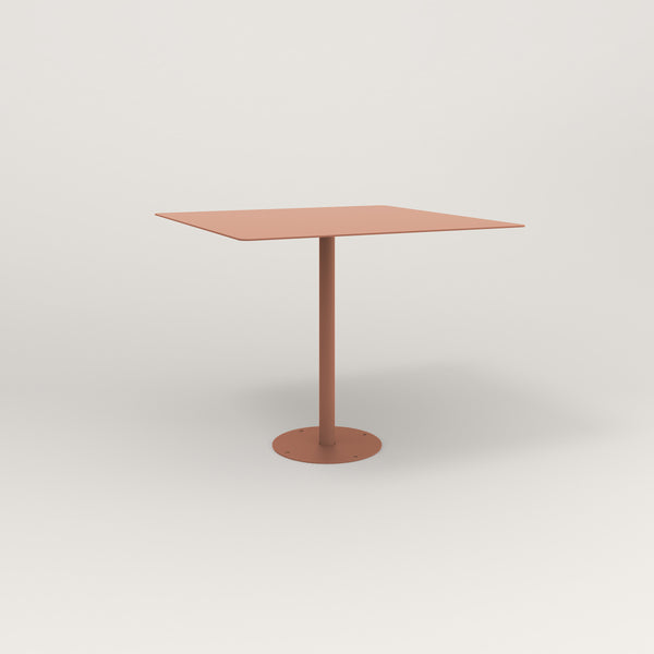 RAD Cafe Table, Rectangular Bolt Down Base in aluminum and coral powder coat.
