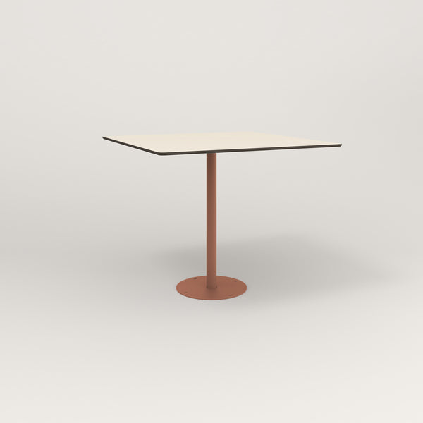RAD Cafe Table, Rectangular Bolt Down Base in hpl and coral powder coat.