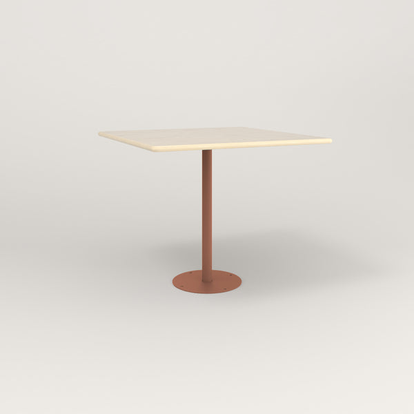 RAD Cafe Table, Rectangular Bolt Down Base in solid ash and coral powder coat.