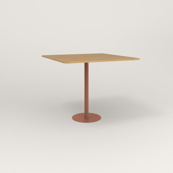 RAD Cafe Table, Rectangular Bolt Down Base in white oak europly and coral powder coat.