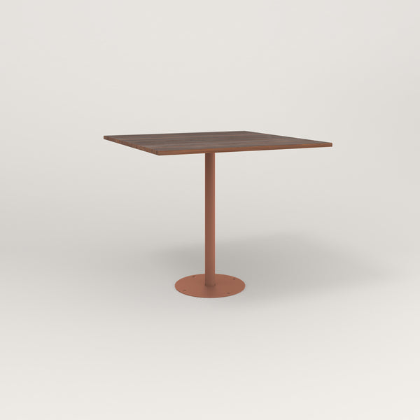 RAD Cafe Table, Rectangular Bolt Down Base in slatted wood and coral powder coat.