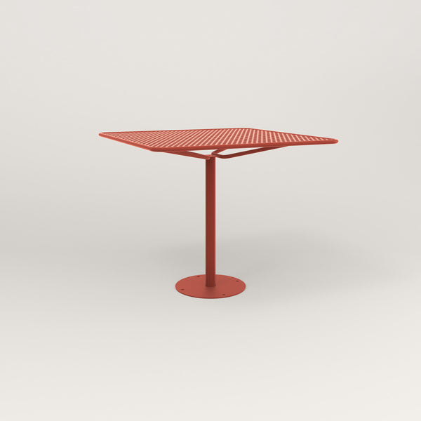 RAD Cafe Table, Rectangular Bolt Down Base in perforated steel and red powder coat.