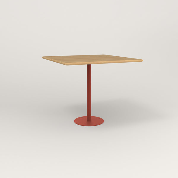 RAD Cafe Table, Rectangular Bolt Down Base in solid white oak and red powder coat.
