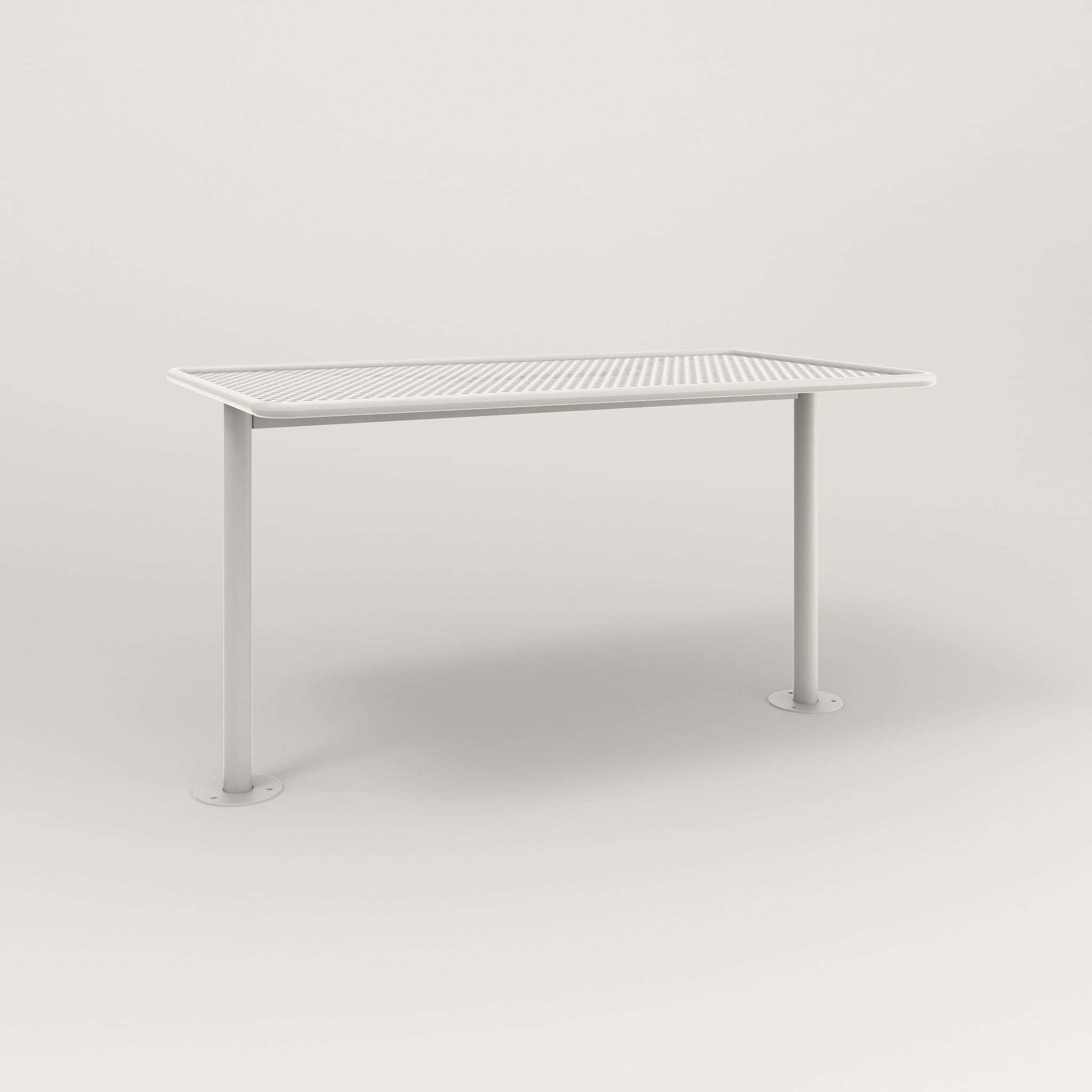 RAD Cafe Table, Rectangular Bolt Down Base T Leg in perforated steel and white powder coat.